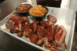 Ribs, Texas Sausage, and Brisket with Pork + Beans, and Mashed Sweet Potato at Bear's Smokehouse