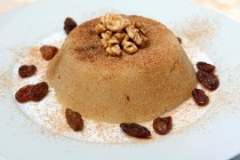 semolina halva, halvah, halava sweet desert with raisiins and nuts