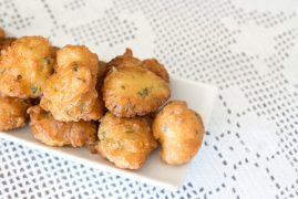 Detail of a homemade cod fritters