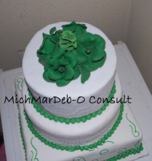 Green and White 3-tier cake