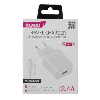 Зарядное устройство 2.4A Olmio USB+Micro-USB (Кабель)