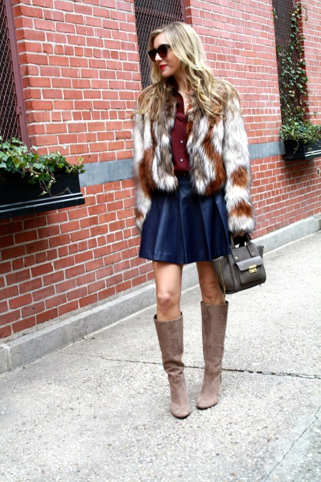 Twelfth Street by Cynthia Vincent, Fur, Cropped Jacket, Navy Leather Skirt, Goldsign Snakeskin Boots, 3.1 Phillip Lim for Target