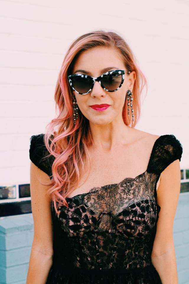 Pink Hair, Little Black Dress, Sheer dress, What to Wear, How to wear it, Dallas, Gala, WIW, OOTD