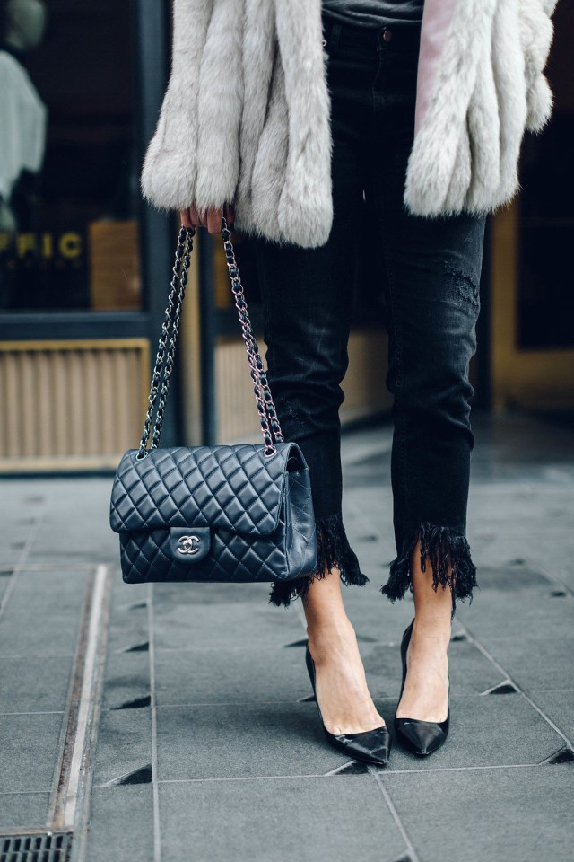vintage, fringe jeans, fur, dallas, chanel, on the 10