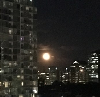 A full moon rising over downtown Austin was gorgeous in the fall of 2016