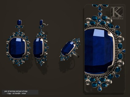 (Kunglers) Aphrodite earring sapphire AD
