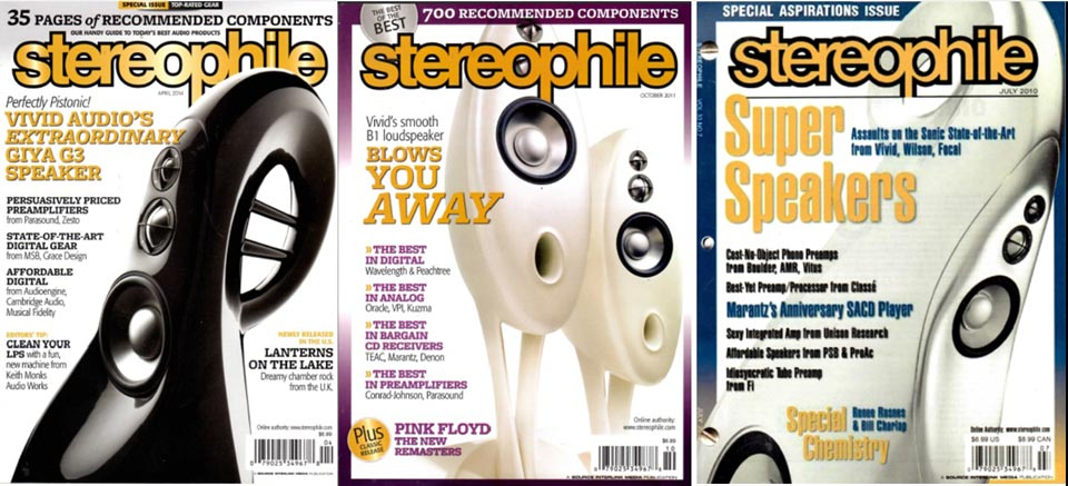 3 times Stereophile Magazine covers