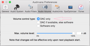 Audirvana volume preference