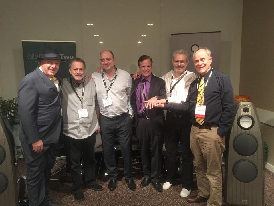 from left to right - Philip O'Hanlon, Dan Meinwald (EAR USA), Prof. George Vatchnadze (Kyomi Audio), Ken Stevens (CAT) Serguei Timachev (Stealth Cables) AJ Van den Hul (Van den Hul)