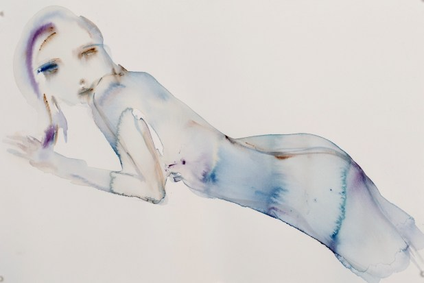 """""""L'Amour, Comp 02"""" original water color, 24"""" x 18"""" by Kim McCarty"""