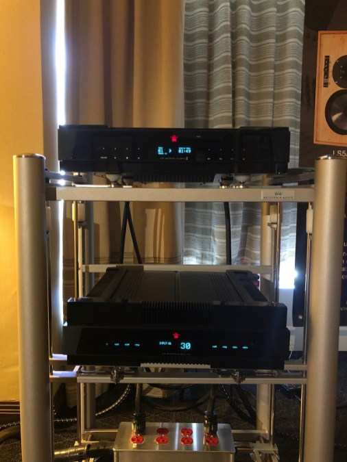 Gryphon Audio integrated and CD player on Artesania Audio rack- nice contrast with silver rack