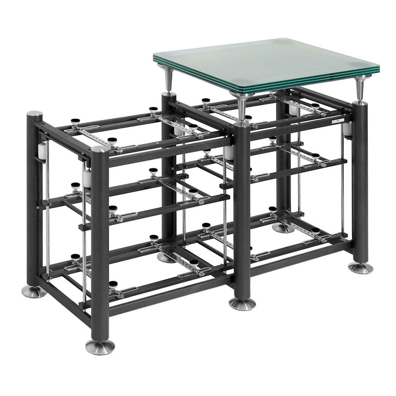 Artesania Exoteryc 3 Level Tandem Rack with Glass Platform (side view)