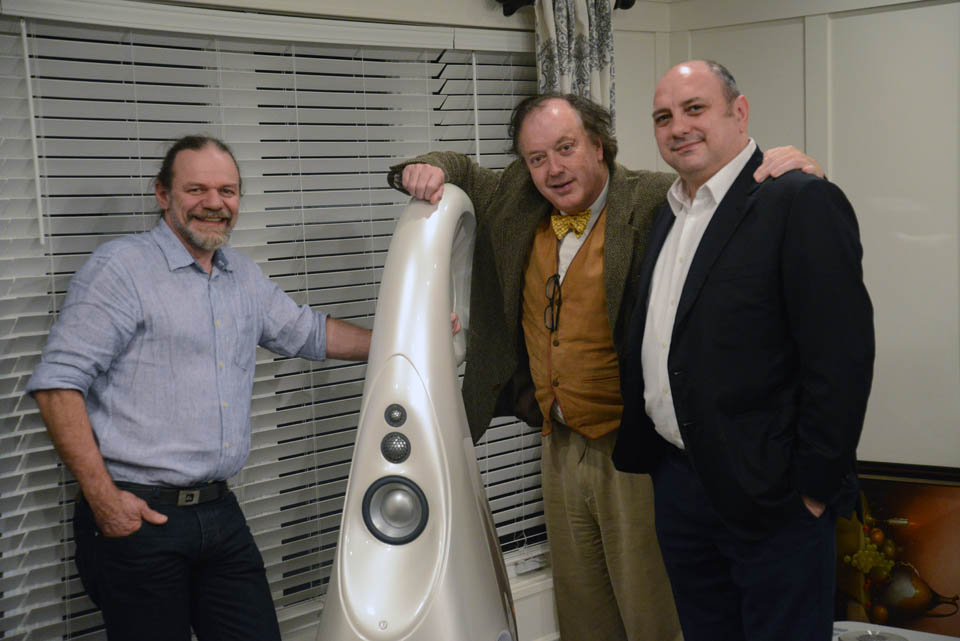 Laurence Dickie, Philip O'Hanlon and George Vatchnadze with Vivid G1 Spirit loudspeaker
