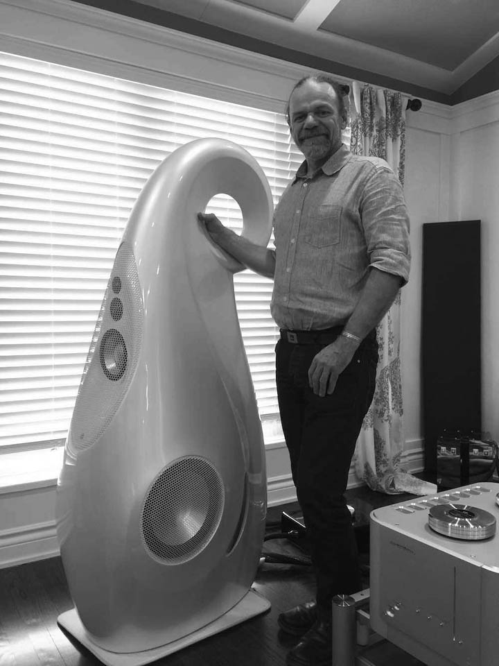Laurence Dickie with his new creation, Giya G1 Spirit loudspeaker
