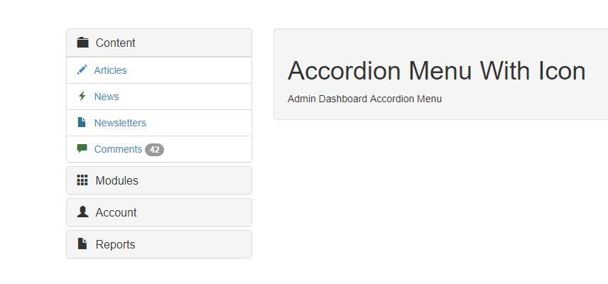Admin Dashboard Accordion Menu With Icon