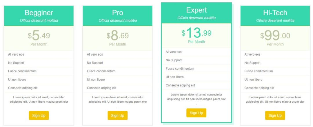Clean and Flat Pricing Tables