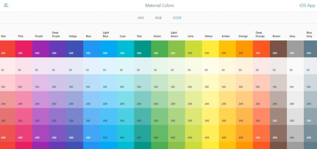 Material Colors - CosmicMind - Color Palette Generating Tools