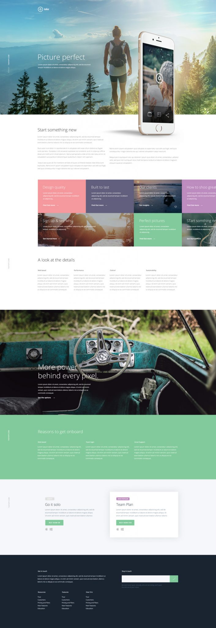 Take Free Mobile App Landing Page PSD template