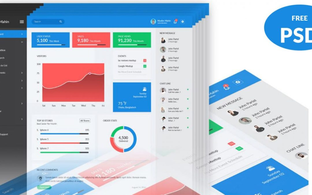 Free PSD Admin Dashboard Template Design