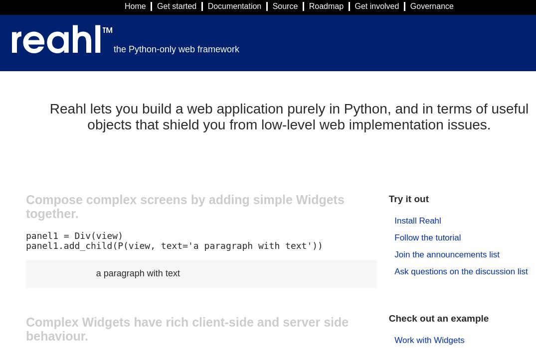 Reahl Python Frameworks