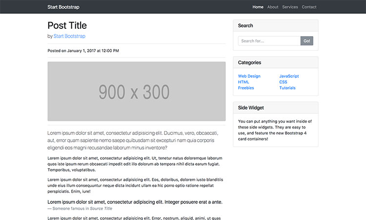 Blog Post Simple Bootstrap Template