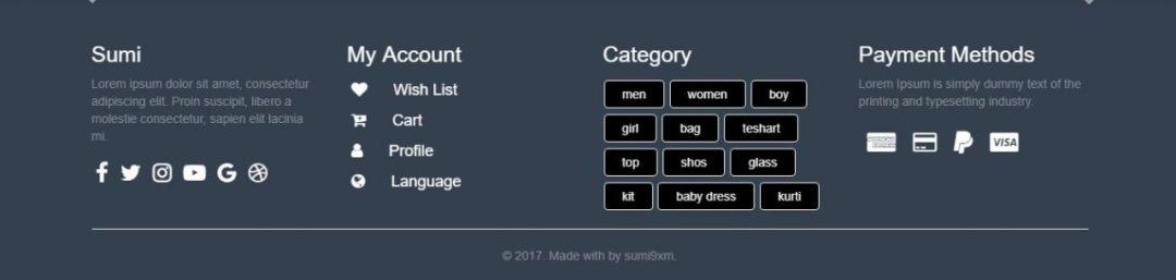 Bootstrap E-Commerce Footer Menu