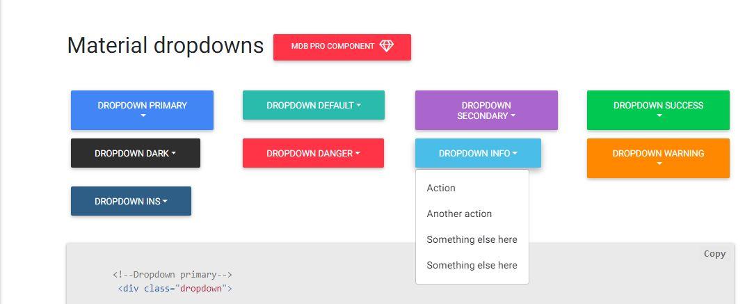 Bootstrap Material Dropdown - Bootstrap DropDown Menus Codes
