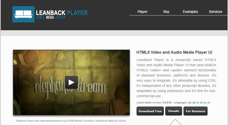 LeanBack Player -HTML5 Video and Audio Player UI