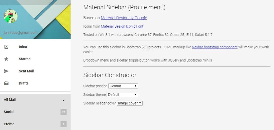 Material Design - Sidebar (Profile Menu)