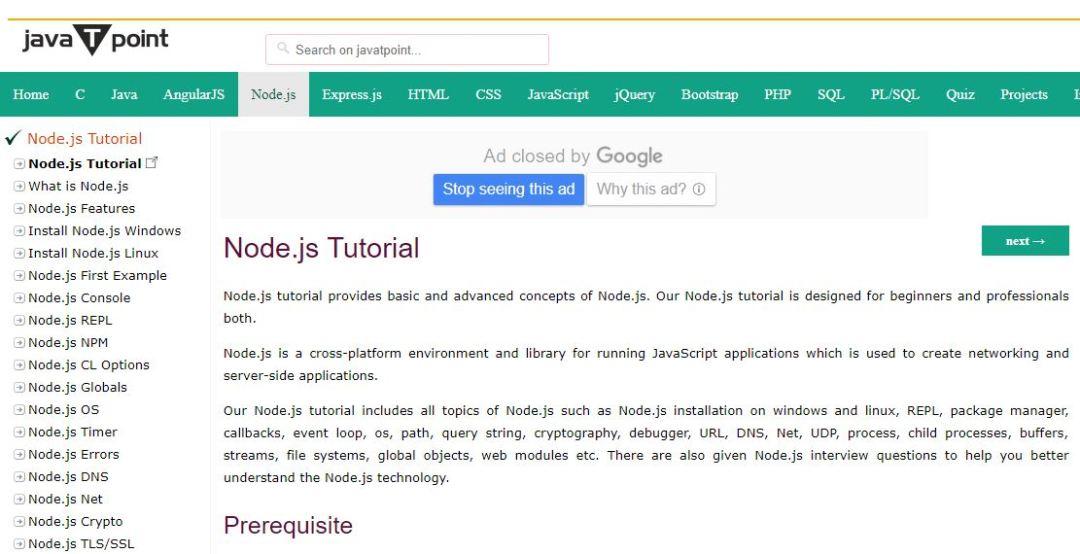 Node.js Tutorial (JavaTPoint)
