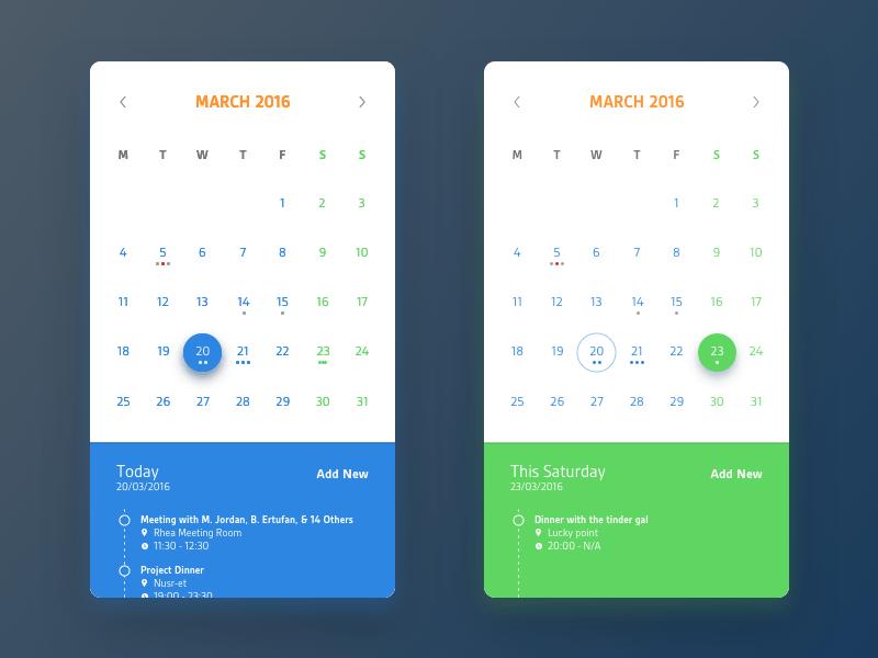 Calendar Mobile App UI Design