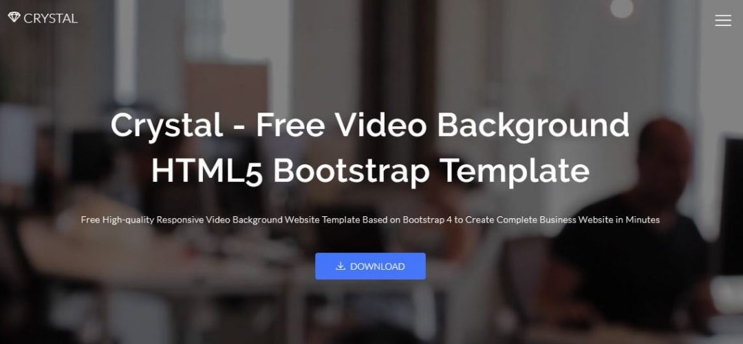 Crystal - Responsive Free Background Video Bootstrap Template