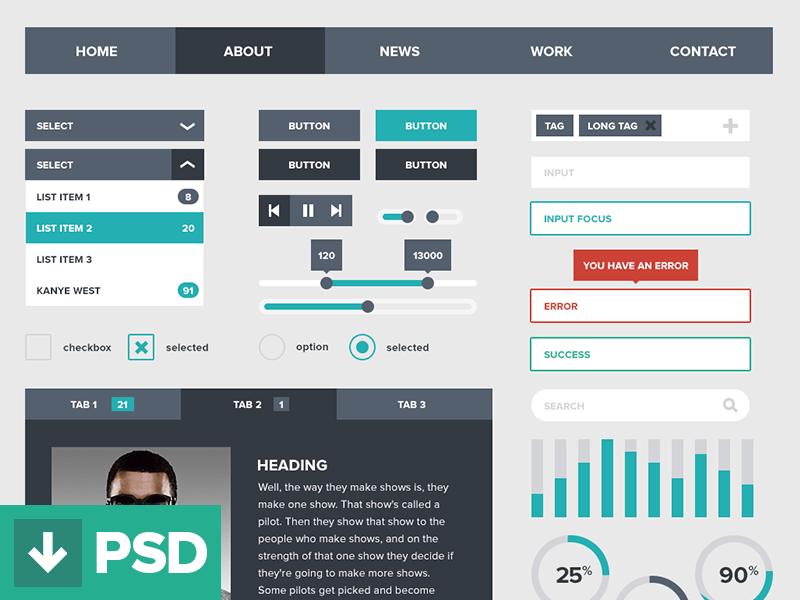 PSD Flat UI Kit