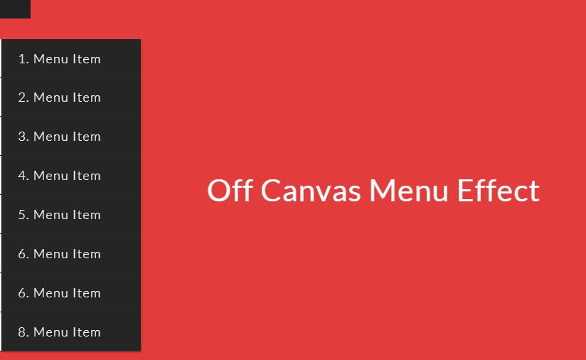 Off Canvas Menu Effect