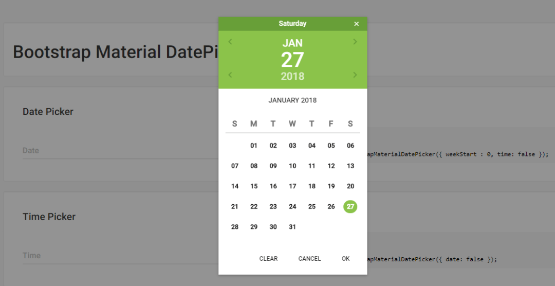 Bootstrap Material Date Picker