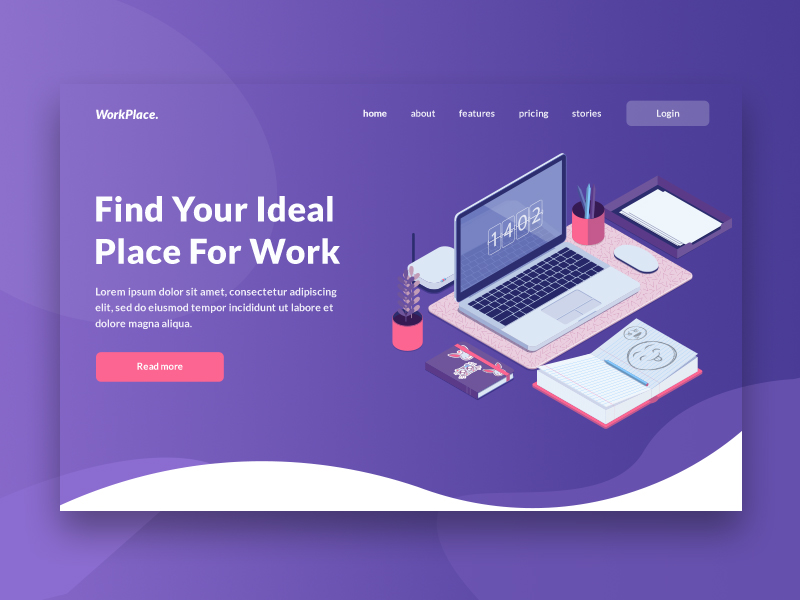 Landing Page Header Concept For Coworking Company