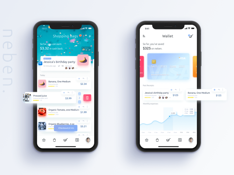 App shopping & Wallet Page