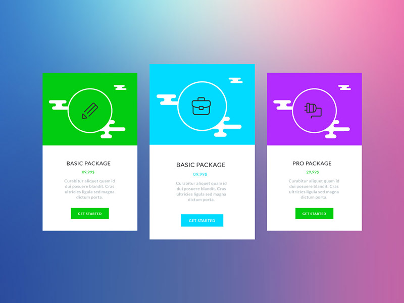 Colorful Vector Pricing Tables
