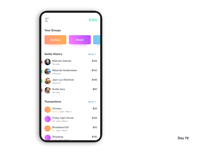 Daily UI Challenge Day 72 Group Expense Manager
