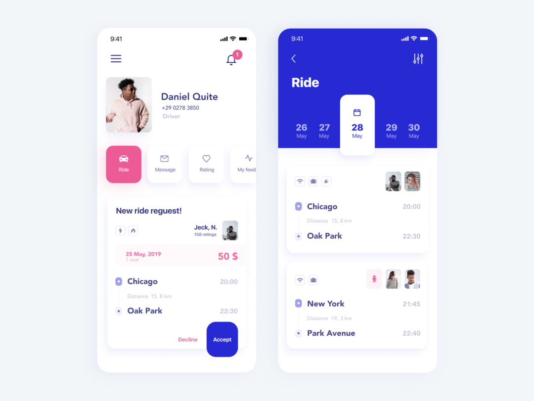 Mobile App Profile Screen by Nastia Diadenchuk