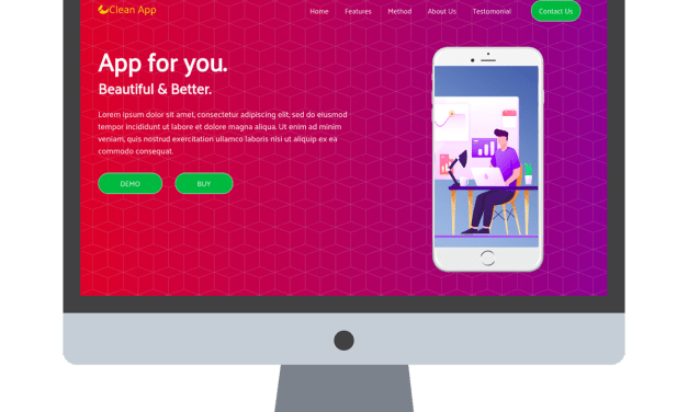 Clean App – Free Bootstrap One Page Website Template For Mobile App