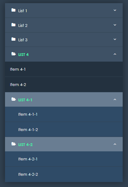 Accordion Menu example