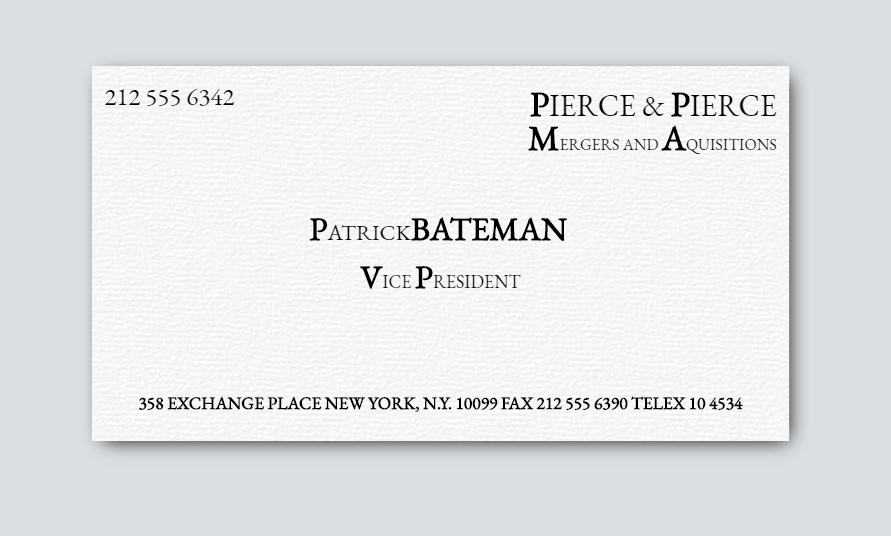 American Psycho Business Card (Flips over)