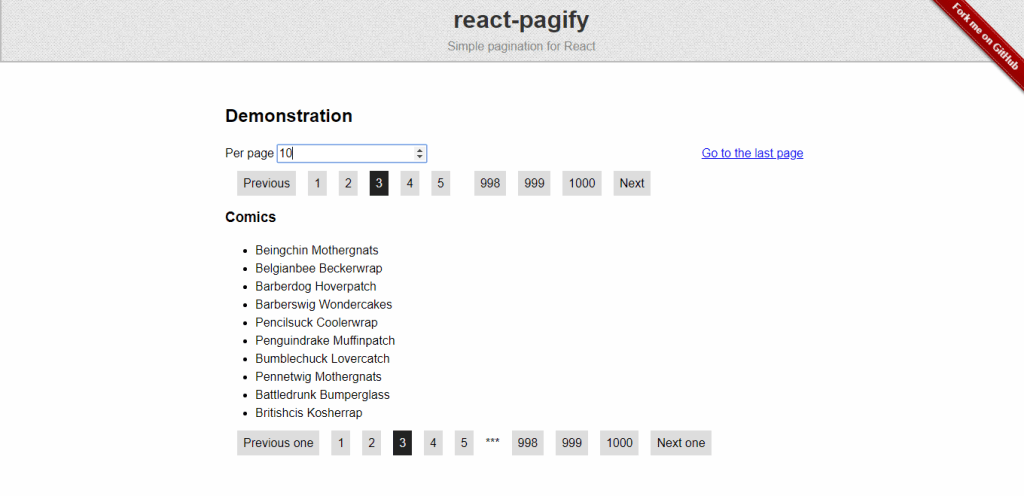 React pagination library