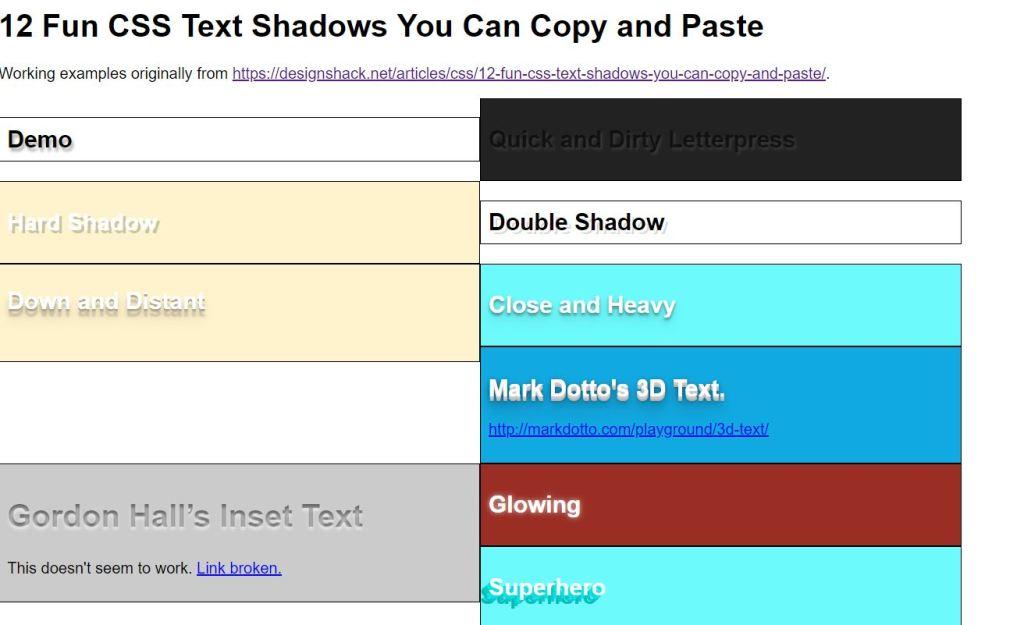 Fun CSS Text Shadows