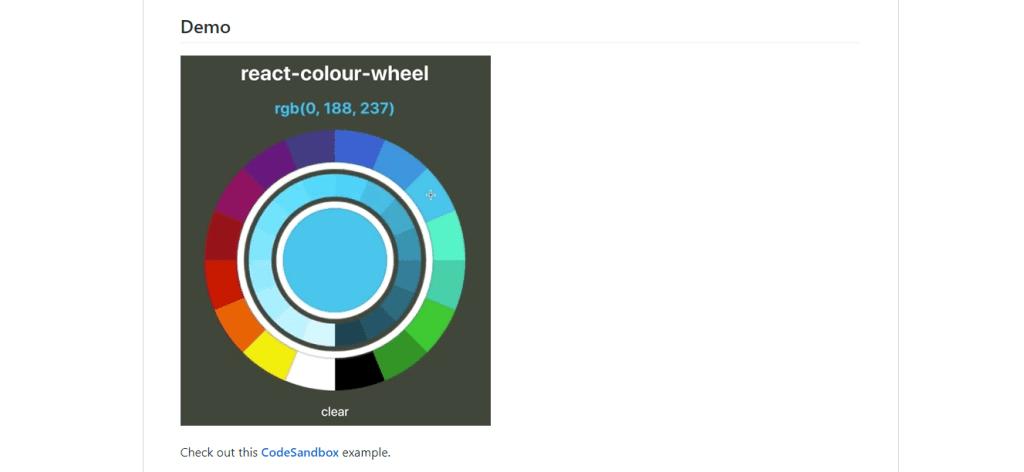 React colour wheel