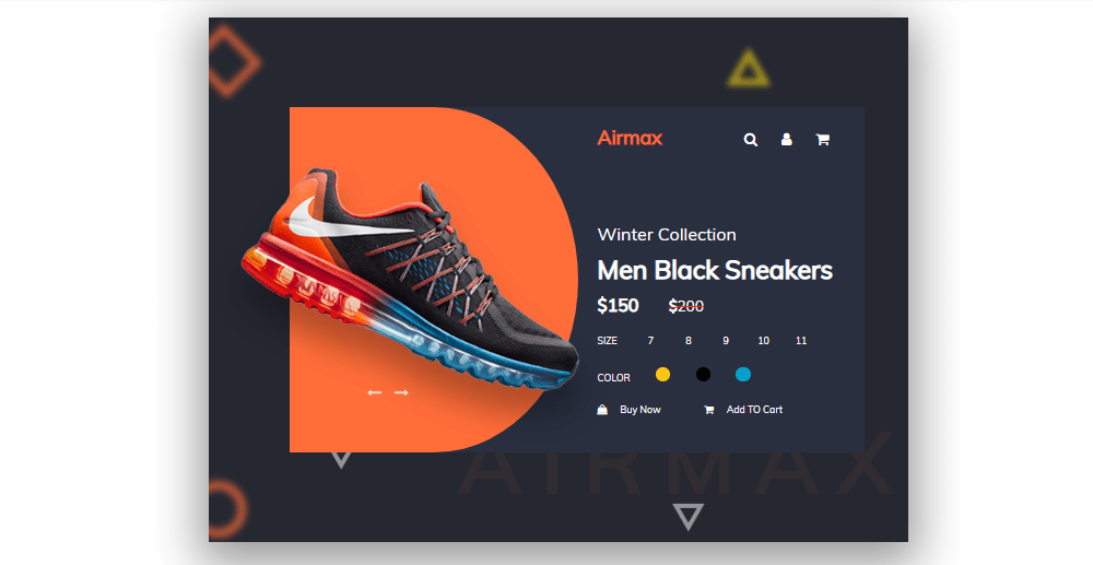 airmax product card design with css