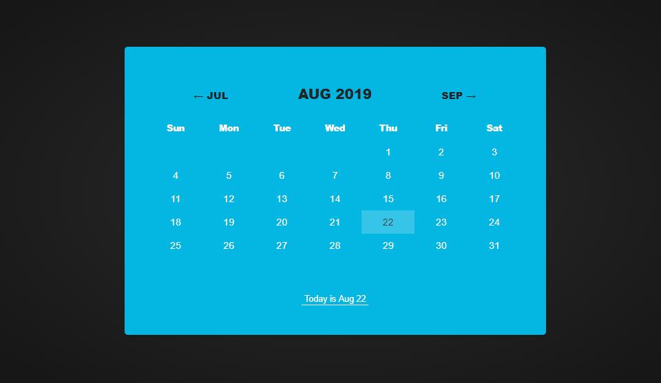 css calendar example