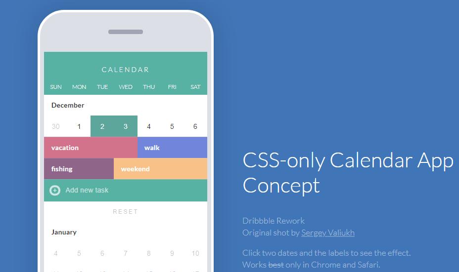Calendar app wusing CSS only