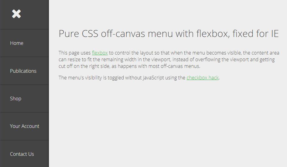 pure css off-canvas navigation menu